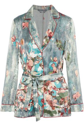 ALBERTA FERRETTI Belted printed silk-satin top