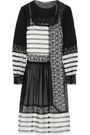 ALBERTA FERRETTI Striped silk-chiffon, crepe de chine and lace dress