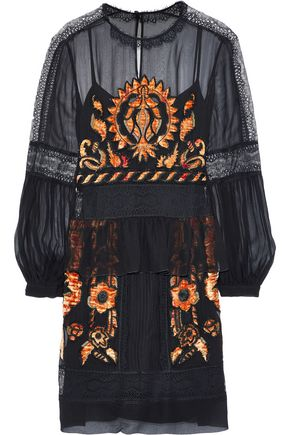 ALBERTA FERRETTI Lace-trimmed embellished silk-chiffon dress