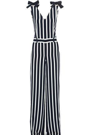 ALBERTA FERRETTI Bow-detailed striped crepe jumpsuit