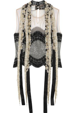 ALBERTA FERRETTI Embellished silk-blend metallic lace and tulle top
