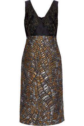 ALBERTA FERRETTI Lace-appliquéd twill and metallic matelassé dress