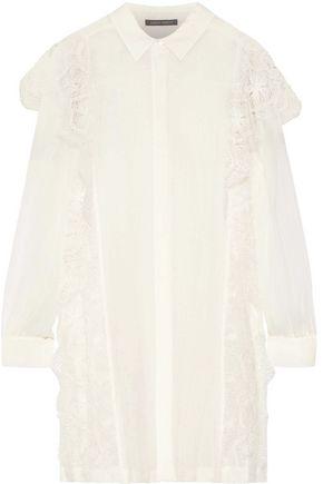 ALBERTA FERRETTI Lace-trimmed linen-gauze shirt