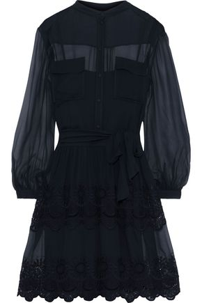 ALBERTA FERRETTI Broderie anglaise cotton-blend chiffon dress