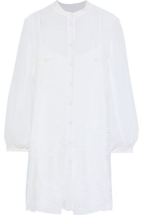 ALBERTA FERRETTI Broderie anglaise chiffon mini shirt dress