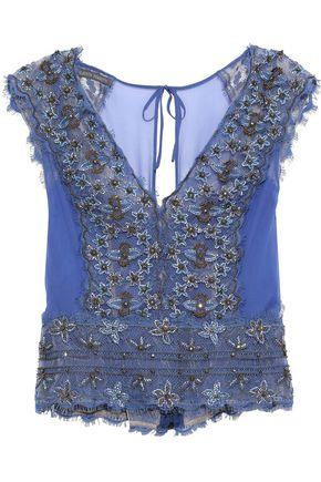 ALBERTA FERRETTI Embellished lace-paneled silk-chiffon blouse