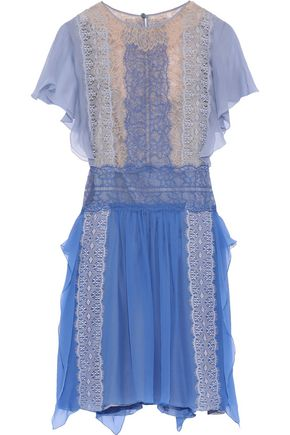ALBERTA FERRETTI Ruffle-trimmed silk-chiffon and lace mini dress