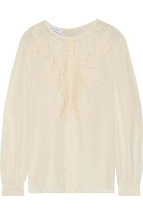 ALBERTA FERRETTI Lace-paneled silk blouse