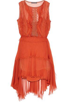 ALBERTA FERRETTI Open-back layered silk-chiffon and embroidered tulle mini dress