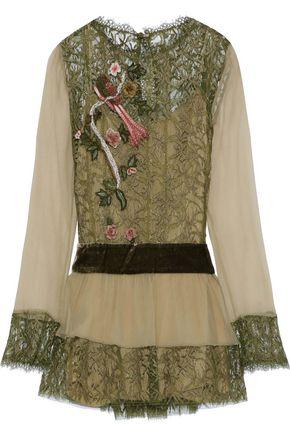 ALBERTA FERRETTI Velvet-trimmed georgette and appliquéd lace blouse