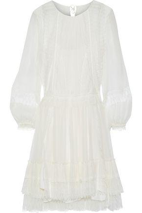 ALBERTA FERRETTI Lace-paneled pleated silk-georgette dress