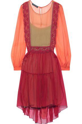 ALBERTA FERRETTI Lace-trimmed two-tone silk-chiffon mini dress