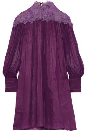 ALBERTA FERRETTI Lace-paneled gathered silk-chiffon mini dress