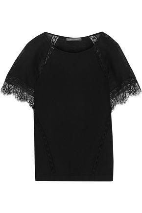 ALBERTA FERRETTI Lace-trimmed chiffon-paneled wool-jersey T-shirt