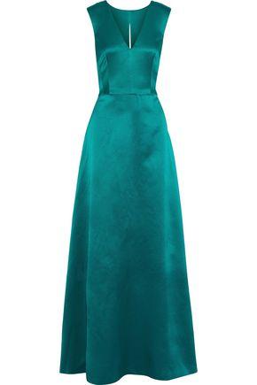 ALBERTA FERRETTI Cutout pleated silk-satin gown