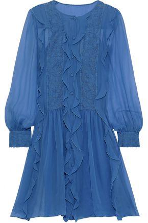 ALBERTA FERRETTI Lace-appliquéd ruffled chiffon mini dress