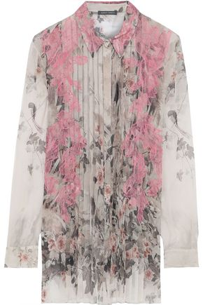 ALBERTA FERRETTI Lace-appliquéd pleated printed silk-chiffon shirt