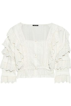 LOVE SAM Crochet-trimmed embroidered striped seersucker cotton blouse