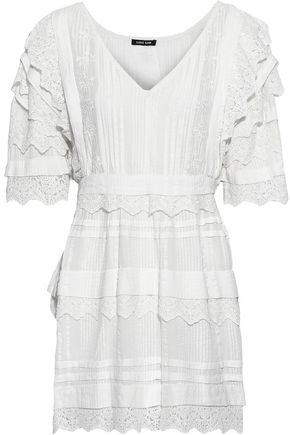 LOVE SAM Crochet-trimmed embroidered striped seersucker cotton mini dress