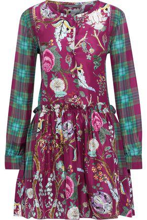 ALBERTA FERRETTI Flared printed silk crepe de chine mini dress