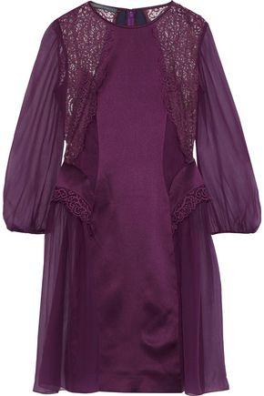 ALBERTA FERRETTI Lace-paneled embroidered silk-chiffon dress