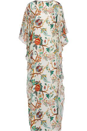ALBERTA FERRETTI Chiffon-paneled ruffled floral-print silk maxi dress