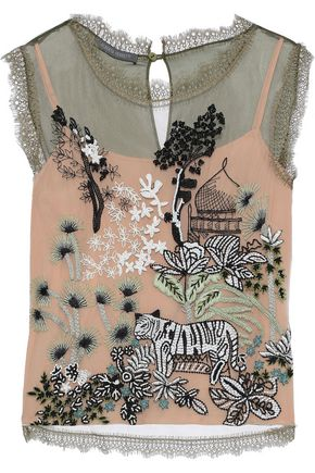 ALBERTA FERRETTI Lace-trimmed embellished tulle top