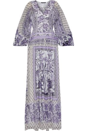 ALBERTA FERRETTI Pleated printed chiffon maxi dress