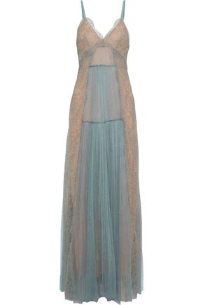 ALBERTA FERRETTI Pleated tulle and lace gown