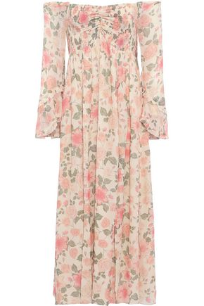 LOVE SAM Off-the-shoulder shirred floral-print chiffon midi dress