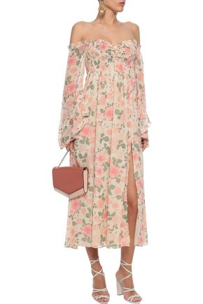 LOVE SAM Off-the-shoulder shirred floral-print chiffon midi dress
