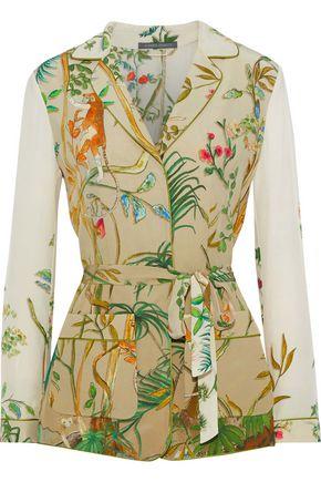 ALBERTA FERRETTI Belted printed silk crepe de chine jacket