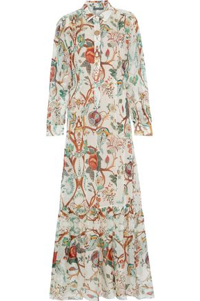 ALBERTA FERRETTI Printed silk-chiffon maxi shirt dress