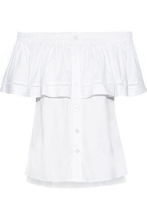 DONNA KARAN Off-the-shoulder ruffled cotton-blend poplin top