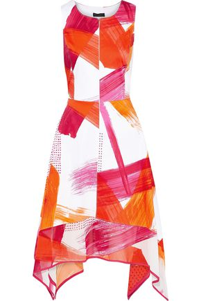 DONNA KARAN Printed chiffon-paneled cotton-blend dress