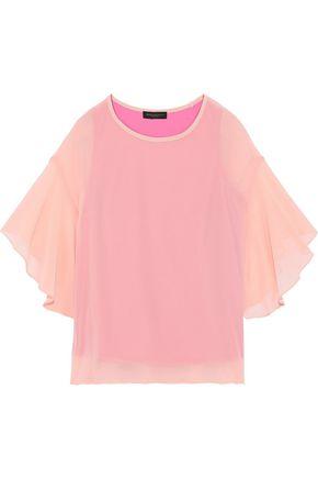DONNA KARAN Draped chiffon blouse