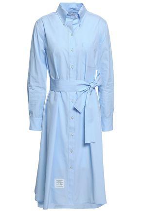 THOM BROWNE Belted cotton-poplin dress