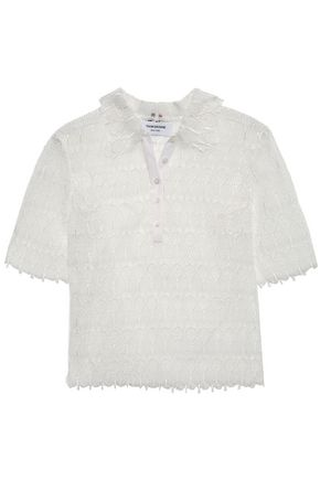THOM BROWNE Silk-trimmed guipure lace polo shirt