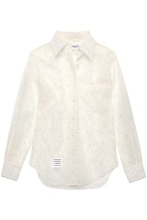 THOM BROWNE Embroidered silk-organza shirt