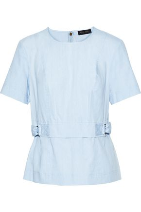 DONNA KARAN Cotton-chambray top
