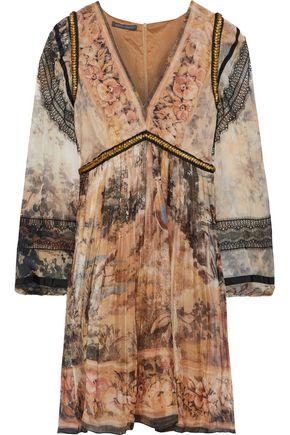 ALBERTA FERRETTI Lace-appliquéd embellished printed silk-chiffon dress
