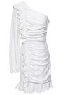 REBECCA VALLANCE Argentine one-shoulder ruched twill mini dress