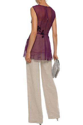 ALBERTA FERRETTI Appliquéd tulle-paneled draped silk-chiffon top