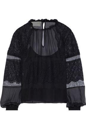 ALBERTA FERRETTI Lace-appliquéd tulle and silk-chiffon blouse