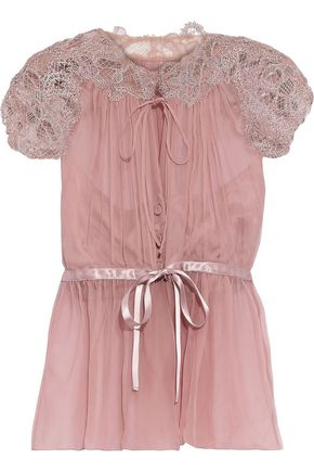 ALBERTA FERRETTI Lace-paneled gathered silk-chiffon blouse