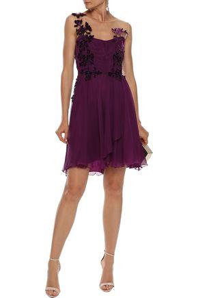 ALBERTA FERRETTI Appliquéd tulle-paneled silk-georgette mini dress