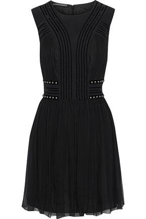 ALBERTA FERRETTI Studded velvet-trimmed pleated silk-chiffon mini dress