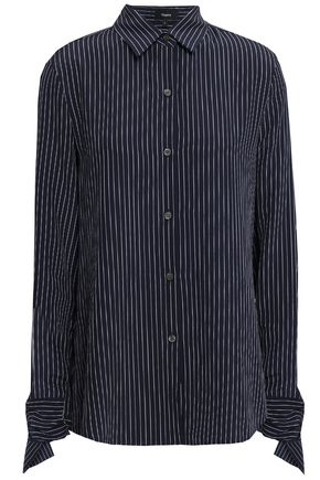 THEORY Tie-detailed striped silk crepe de chine shirt