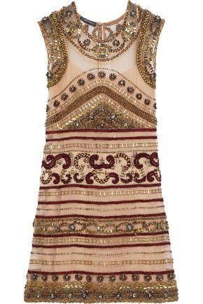 ALBERTA FERRETTI Embellished silk-organza mini dress