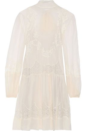 ALBERTA FERRETTI Lace-paneled silk-chiffon mini dress